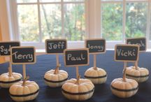 Pumpkin DIY Projects / Place Cards using mini pumpkins, ribbon, chalkboard picks and chalk markers