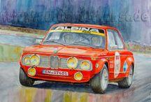 Automobile Kunst, / gemalte Motorsportscenen, Racing cars, Rennwagen, sportwagen