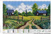Haft krzyżykowy- wiejskie domy