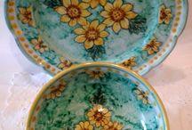 Set Piatto + Ciotola decorato a mano.Decorazione Fiori.30,00 € su misshobby.com