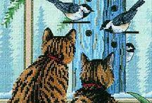 vyšívání - kočky / kočky