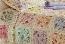 colchas tela y crochet