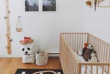 Nursery / Nursery ideas: gender neutral, modern/rustic. Grey + white + natural wood & cozy textiles. Forest + animals + mountains.