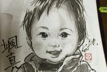 墨で描く【墨絵似顔絵】 / 墨で描いた子供達