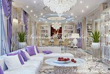 Дизайн дома в стиле арт-деко в КП «Литвиново» / Дизайн разработан для дома в КП «Литвиново» студией Анжелики Прудниковой. В гостиной много свободного пространства, благодаря уменьшению количества перегородок. Для уютных вечеров в зале можно, как посмотреть телевизор, так и погреться у камина. Стиль арт-деко в интерьере  проявляется в выборе декоративных элементов, мебели, цветовой палитры и т.д.