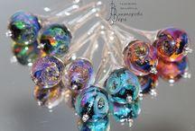 Glass and silver earring / Earrings handmade by Vera Viktorova Glass - Artisan lampwork Basis - sterling silver