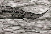 wet friends / «fishes. рыбы» dmitry geller. artworks. pictures for sale. рисунки дмитрия геллера. работы продаются. 21x29. chinese ink. paper
