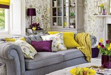 mustard and yellow accents for lounge