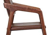 SHORT // Chair / Walnut & Fabric, Leather W:54 L:68 H:83 Designed By Kerem Erçin & Mahmut Kefeli, 2011