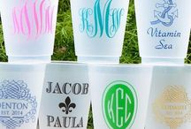 Personalized Party Cups / With your choice of Monogrammed Shatterproof Frost Flex Cups, Styrofoam Cups, Stadium Cups, and Tritan Non-Breakable Glassware you are sure to custom design cups that go with any party and décor!