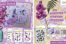 CraftEmotions - Romantic Orchid / A collection matching products for cardmaking, mixed media and more. Available products: decorated paperstack (3D) A4 size (cutting sheets and background sheets), clearstamps, mask, dies set.