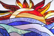színes térelválasztó ólomüveg betét