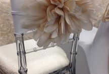 Flower / Large organza flower attached to chair