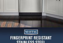 Fingerprint Resistant Stainless Steel / Hard workin'. Good lookin'. Fingerprint resistin'. Maytag dependability now available in Fingerprint Resistant Stainless Steel.