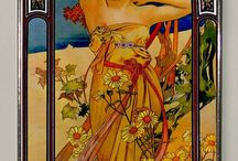 Art Nouveau Women on Glass