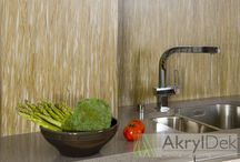 Acrylic wall panel decoration in kitchen / Acrylic wall panel with organic fill for kitchen design, patterns of flowers, grass, leaves, bamboo, coffee beans