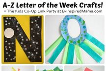 Explore the Alphabet / Alphabet arts and craft activities. Lesson ideas for classroom and homeschool teachers.  Letter recognition and early writing activities.