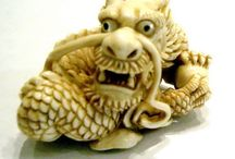 netsuke / ancient Japanese carved objects for attaching purse to sash