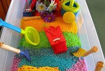 Sensory Bins & Activities / Learning through the senses makes lessons more concrete. Sensory activities can also help stretch learners who need special therapies to learn to cope with different textures.