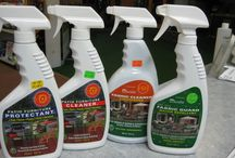 Outdoor Patio Furniture Cleaners / Try our New Biodegradable Patio Furniture Cleaners to keep your patio furniture and cushions looking new! CLEANER - Safely soaks in & lifts up soils & stains so that they can be easily rinsed away. PROTECTANT - Leaves an enduring repellent finish that rejects soiling, sweat, body oils, & atmospheric contaminants. FABRIC CLEANER - For all brands of indoor & outdoor fabrics. FABRIC GUARD - A water repellant to protect your outdoor fabrics from rain & mildew stain.