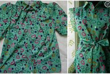 before & after green dots shirt