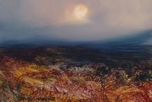 Lunar series - oil paintings by David Ladmore / The unique qualities of the luminosity and colour of moonlight, abstractions with an emotional component. Paintings of the moon with landscape. Landscape paintings in oil. Abstract landscape paintings.
