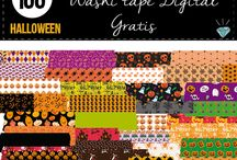 washi tape digital halloween