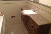 Full Bathroom Reglazing / Reglazed Tile Walls, Tile Floor, Tile Countertop, Bathroom Sink, Bathtub, and Custom Color Trim.