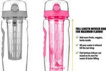 New InfuseFruit 32 oz with a Full-length Rod in Bubblegum Pink / This board shows an improved version of the InfuseFruit bottles that you've  all loved. With a longer infuser rod, you can now add more fruits and herbs inside! You no longer have to tilt the bottle because your water gets infused to the last drop!