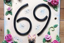 House Number Signs / Whimsical one of a kind ceramic house numbers, personalised to your requirements!