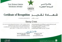 The Dubai Green Tourism Awards / Savoy Dubai Hotels wins again at The Dubai Green Tourism award ceremony.