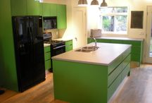 Choose colour!! / The use of vibrant colours in kitchens and bathrooms.
