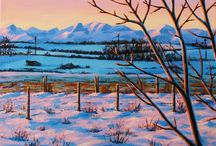 Landscape paintings / Landscapes and nature paintings of Rocky Mountains and area, acrylic on canvas
