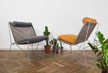 Monterey_armchair / Monterey is an armchair made of metal, synthetic mesh and fabric cushions. It is a reinterpretation of the armchair idea: the seat is an actual synthetic mesh stretched on a metal frame thanks to a simple system inspired by deck chair hinges.  The mesh can be easily removed to be washed or changed.  Monterey is a comfortable armchair thanks to a suspended seat which easily adapts itself to the shape of the body.  http://www.edizionelimitatafactory.com/P004-monterey.html