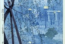 Shiro Kasamatsu / (1898 to 1991) He was born in Asakusa, Tokyo, and became a student of Kiyotaka at the age of 13. He is one of the most highly respected of the Shin Hanga artists creating many landscape scenes in a unique and individual style. He was published by Watanabe then Unsodo and in the late 1950s decided to only produce self published works.