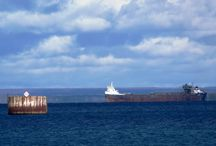 Freighters in the Bay, October, 2013, Lake Huron, St. Ignace / We've had some strong winds lately, and several freighters have taken shelter in our bay until the winds go down.