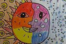 Warme Sonne/ kalter Mond / Warme / Kälte Farben  2-3. klasse