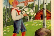 ETEL RAIVIO / Taiteilija piirtäjä Etel Raivio  syntynyt Helsingissä 1905.  Teki kirjojen kuvituksia ja piirsi satoja postikortteja.