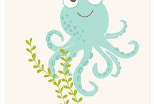 Nursery Décor Ideas / Blue and grey ocean/beach/surf/sea life theme  / by Nicole Mae