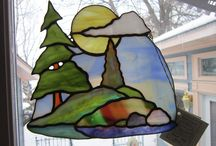 stained glass mountain and trees panal
