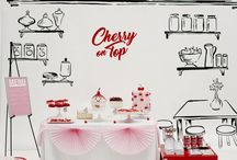 Party Inspiration: Cherry Pop / A bright cherry red pop of colour paired with monochrome or a paired back colour palette makes for a bright and energetic party scene.