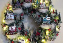 Christmas village wreath