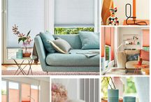 Coral and Blue Interiors