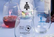 Stemless Wine Glass Favors - Custom Wine Glasses / Wedding Toasts with Personalized Stemless Wine Glasses