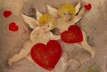 Angels and hearts / Angels and heart painted...in all ways and on different materials...