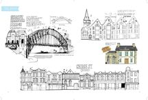 All the Buildings in Sydney / A love letter to James Gulliver Hancock's hometown of Sydney, Australia, told through his unique and charming cityscape drawings.  / by Hardie Grant Books