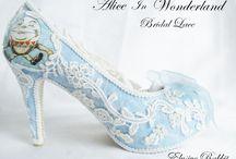 Alice in Wonderland Bridal Lace Blue ivory