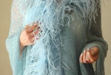 Mohair and Feathers / Miss Knitwear new Collection of Mohair shawls and ponchos with Ostrich feather edges...