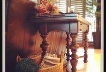 Thanksgiving decor on sofa table