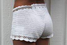 calções tricot/crochet